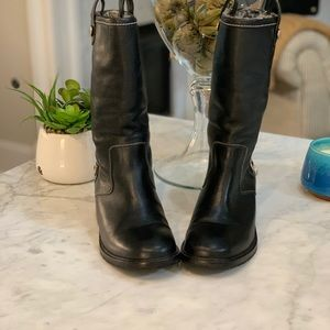 COLE HANN BLACK LEATHER MOTORCYCLE BOOTS